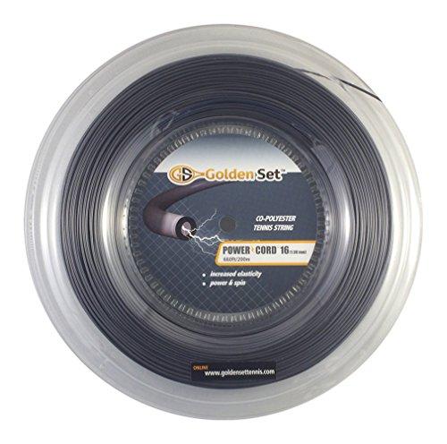 - Golden Set Power Cord 16g (1.30mm), Reel (660ft/200m), Polyester Tennis String (Dark Grey)