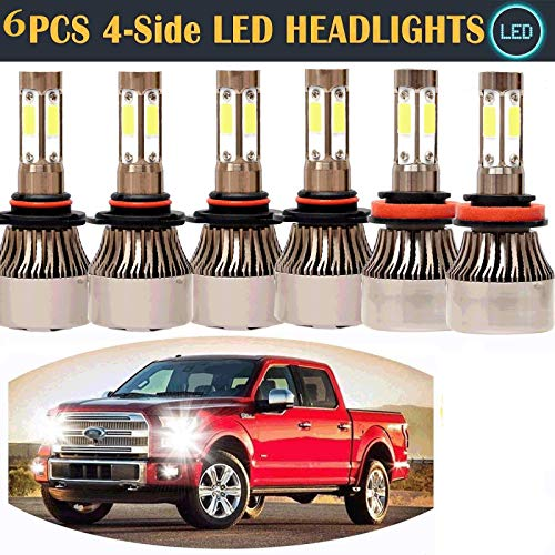 Wiswis 4 Sides 9005 9140 H11 3 Pair 6000k White Led Headlights High Low Beam Conversion Kit And Fog Light All In One For Ford F 150 2015 2017