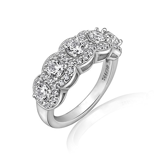 Diamonbliss Platinum Plated Sterling Silver Cubic Zirconia 5-Stone Halo Band Ring- Round, Size 5