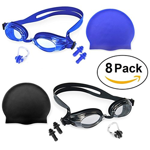 Swimming Accessories Set w/ 2 x Swim Goggles, 2 x Silicon Caps, 2 x Earplugs, and 2 x Nose Clips - Protection Anti Fog UV Training Kit for Men Woman - Transparent Swimming Goggles