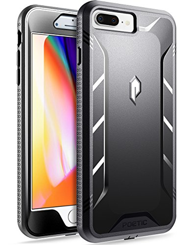 iPhone 7 Plus / iPhone 8 Plus Case, Poetic Revolution [360 Degree Protection]- Full-Body Rugged Heavy Duty Case w/ Built-in-Screen Protector for iPhone 7 Plus / iPhone 8 Plus Black