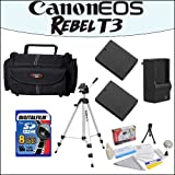 Accessory Starter Package For Canon EOS Rebel T3 With 48'' Professional Travel Tripod, Gadget Bag, 8GB SDHC High Speed Memory Card and More!