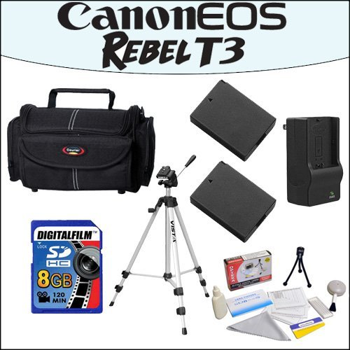 Accessory Starter Package For Canon EOS Rebel T3 With 48'' Professional Travel Tripod, Gadget Bag, 8GB SDHC High Speed Memory Card and More! by 47th Street Photo
