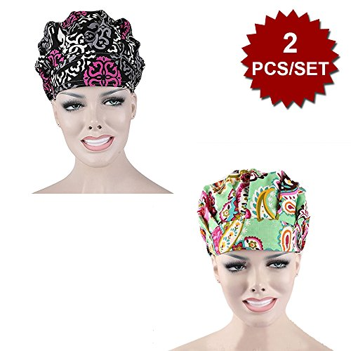Opromo Bouffant Scrub Hat Sweat Bleach Friendly Banded Hat for Women Ponytail-Assorted 1