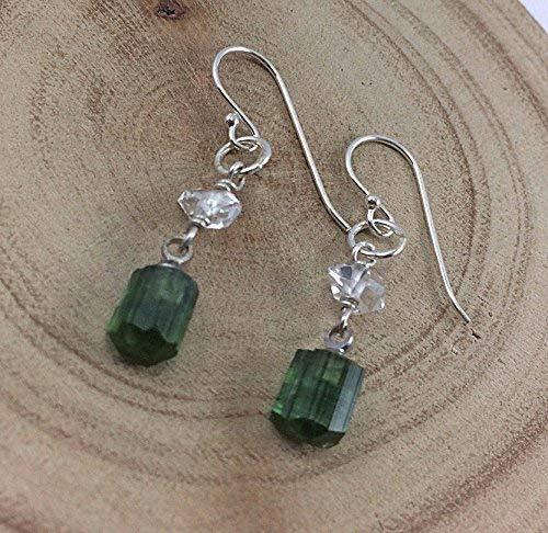 Green Tourmaline Earrings,Herkimer Diamond Earrings,925 Sterling Silver Earrings,Drop length 3.3 cm,EGTH2