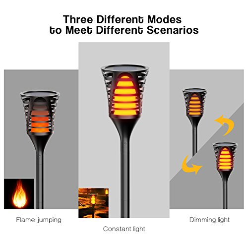 InnoGear Solar Lights Outdoor, Upgraded LED Flame Light 3 Working Modes Flicker Flickering Torch Wall Path Light Waterproof Spotlights Decorative In-Ground Landscape Lighting Auto On/Off, Pack of 4 by InnoGear (Image #2)