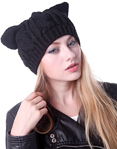 HDE Women's Winter Knit Beanie Cat Ear Cable Braided Ski Hat Cap (Black) (Women Hipster Hats)