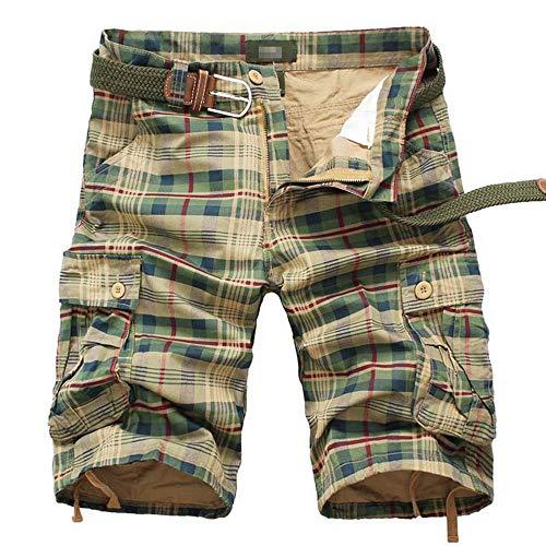 (Men's Cargo Shorts Casual Lounge Shorts Multi Pocket Outdoor Wear Lightweight Basic Short Plaid Army Yellow JD04-36(M+))