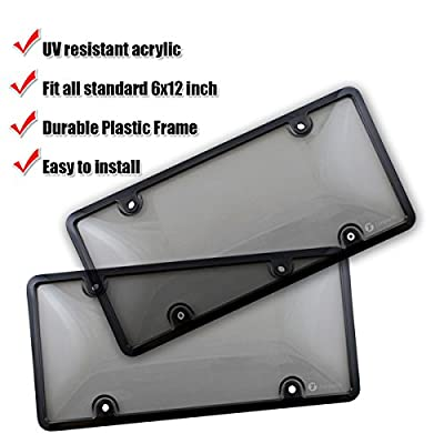 Zone Tech Clear Smoked License Plate Cover Frame Shield Combo - 2-Pack Premium Quality Novelty/License Plate Clear Smoked and Black Bubble Shield and Frame: Automotive
