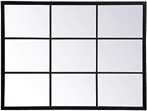 Elegant Decor Metal Windowpane Mirror 36 inch in in x 48 inch in in Black