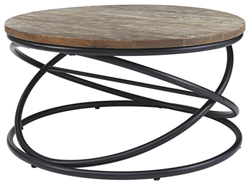 (Signature Design by Ashley T644-8 Charliburi Cocktail Table, Brown/Black)