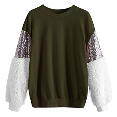 Multicolor Contrast Sequin Sweatshirt Women Casual Colorblock Fluffy Plush Long Sleeve Pullovers Army Green S