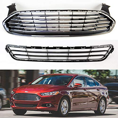 Fits Ford Fusion 2013-2015 Front Bumper Upper & Lower Grille Assembly DS7Z8200BA ()