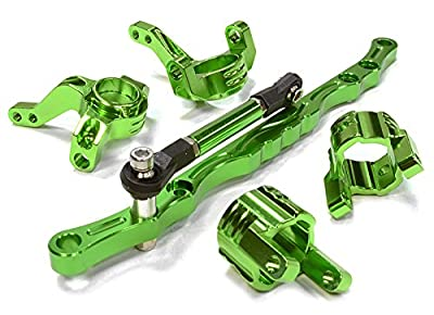 Integy RC Hobby C26029GREEN Billet Machined Steering Knuckle, Caster Block & Linkage Set for Axial SCX-10