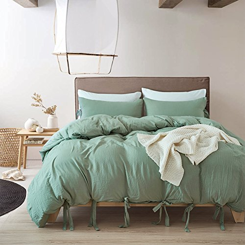 SANMADROLA Luxury Bow Duvet Cover Set with Solid Bowknot Ties Design 3 Piece Bedding Set Green King
