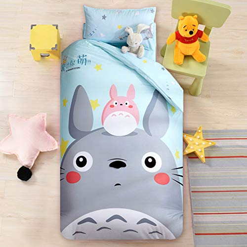 Baby Bedding cot Bed Sets Cartoon car 100% Cotton Duvet Cover120150cm Kindergarten Dormitory Duvet Cover+Bed Covers+Pillow Shams 3-Piece Zipper Closure-Totoro-1.35m Bed