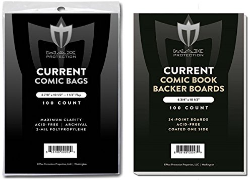 (100) Current Size Ultra Clear Comic Book Bags and Boards - by Max Pro (Qty= 100 Bags and 100 Boards) by Max Protection