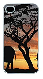 Elephant Silhouette3 Custom iPhone 4s/4 Case Cover Polycarbonate White