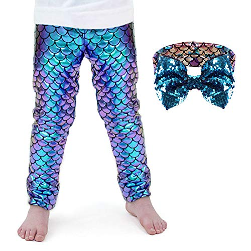 (Girls Mermaid Leggings Fish Scale Mermaid Tights Pants Princess Ariel Mermaid Headband Gift for Toddlers Kids 2T 3T 4T 5T(2-3)