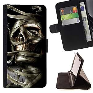 Momo Phone Case / Flip Funda de Cuero Case Cover - Cráneo de la momia de Egipto Faraón Negro Blanco - Samsung Galaxy J1 J100