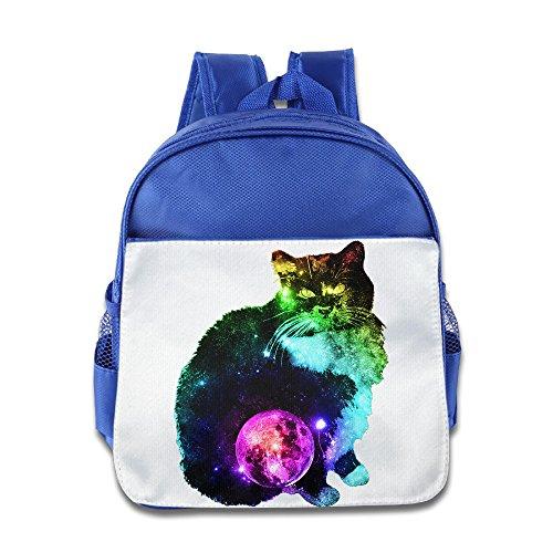 XJBD Custom Personalized Rainbow Cat Kids Children School Bag For 1-6 Years Old RoyalBlue