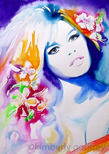 Bardot Floral Fashion Illustration Watercolour Art Print Salon Decor