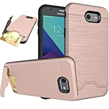Galaxy J7 V Case,Galaxy J7 Sky Pro / J7 Perx / J7V 2017 Case, Asstar [Card Slots Holder] Wallet Dual Layer Drop Shockproof Slim Fit Protective Case Cover with Kickstand for Galaxy J7 2017 (Rose Gold)