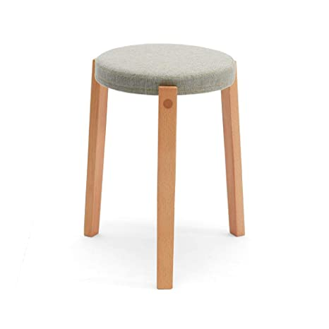 Phenomenal Amazon Com Ttd Fashion Round Footstool Ottoman Linen Customarchery Wood Chair Design Ideas Customarcherynet
