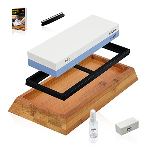 WarriorStone Whetstone Sharpening Stone – Sharpen Everything Quickly, Easily & Safely w/ Powerful Professional Knife Sharpening Kit, Non-Slip Silicone Lined Bamboo Base, Angle Guide, Flattening Stone