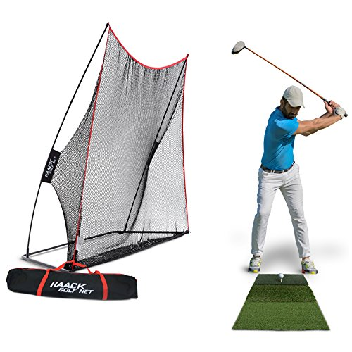 Rukket 3pc Golf Bundle | 10x7ft Haack Golf Net | Tri Turf Hitting Mat | Carry Bag | Practice Driving Indoor and Outdoor | Golfing at Home Swing Training Aids | By SEC Coach Chris Haack by Rukket Sports