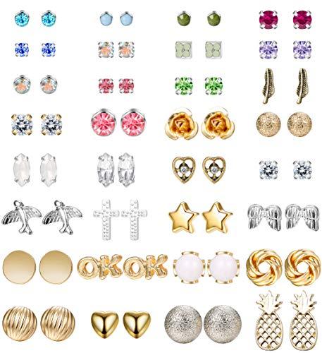 Besteel 32 Pairs Assorted Multiple Studs Earring Set for Women Girls Boho Vintage Style Earrings