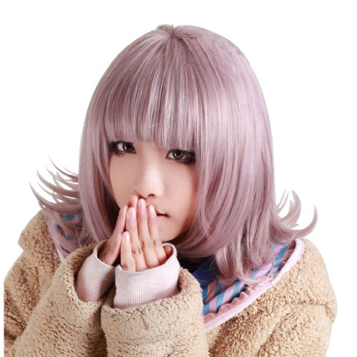 Anogol Purple Short Bob Synthetic Hair Women's Wig with Bangs Fringe for -