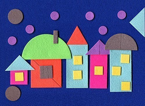 CubbyHole Geometric Flannel Board with Felt Figures - Flannelboard Story Sets with Geometric Shapes - The Evening Town...