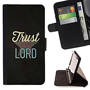 BullDog Case - FOR/Samsung Galaxy S6 EDGE / - / TRUST IN THE LORD /- Monedero de cuero de la PU Llevar cubierta de la caja con el ID Credit Card Slots Flip funda de cuer