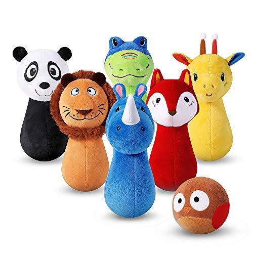 iPlay, iLearn Stuffed Animals Playset, Baby Plush Toys, Infant Owl Ball Rattle, Soft Fabric Giraffe, Lion, Rhino…