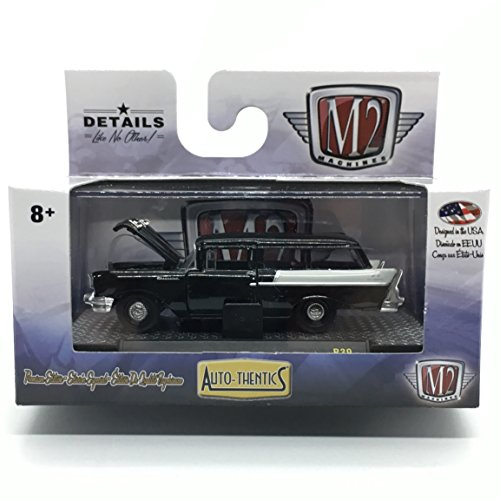 M2 Machines 1957 Chevrolet 150 Handyman Station Wagon (Black with India Ivory Rear Section) - Auto-Thentics Release 39 2016 Castline Premium Edition 1:64 Scale Die-Cast Vehicle (R39 16-25)