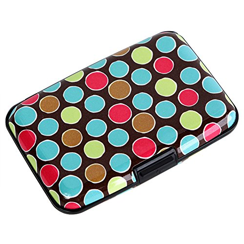 Multi Coloured Circles - Credit Card Holder Aluminum Wallet RFID Blocking Metal Slim Hard Case (Multi-colored-circles)