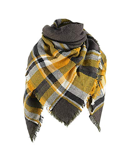 Century Star Stylish Plaid Scarf Soft Oversized Scarves Warm Cozy Blanket Winter Shawl Yellow Green One Size (Green Chunky Scarves)