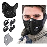 KINGBIKE Dust Mask with Windproof Ear Muff- Activated Carbon Respirator with Filter Filtration Cotton Sheet Valves Exhaust Gas Anti Pollen Allergy PM2.5 N95