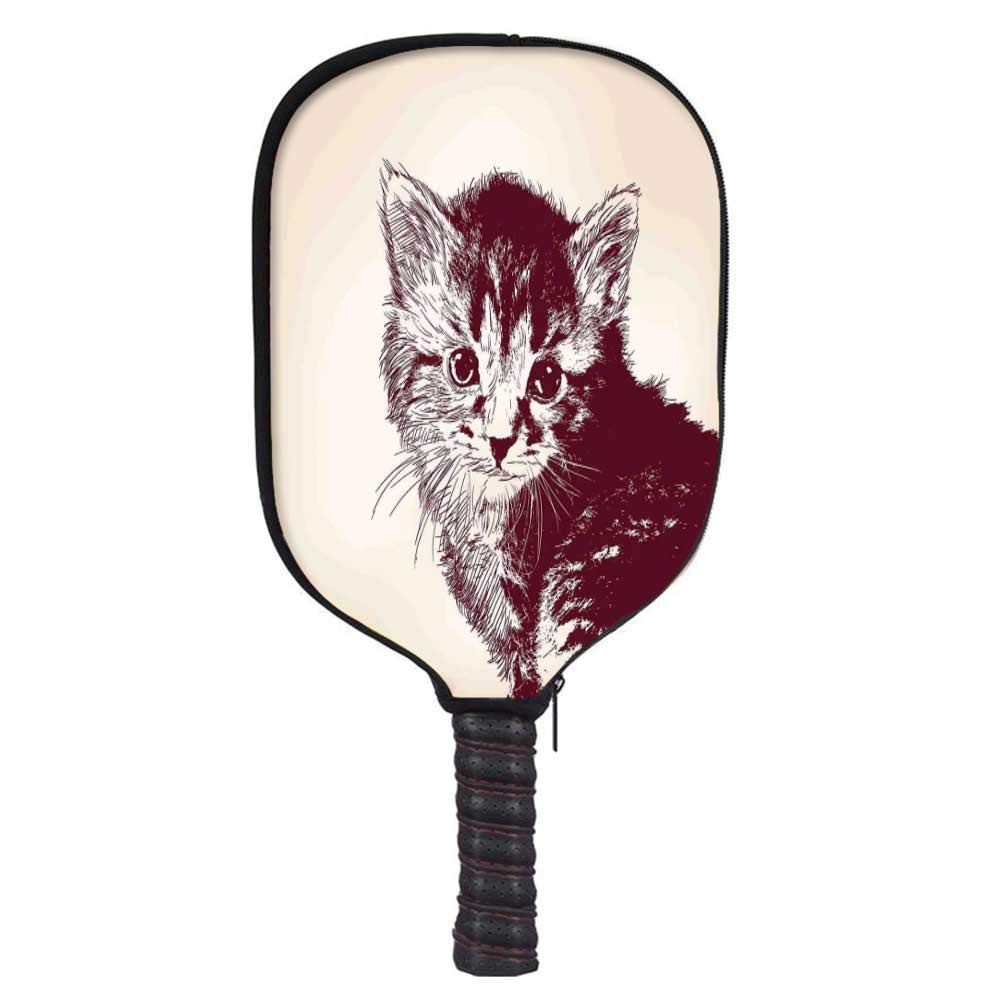 MOOCOM Arrow Fashion Racket Cover,Grunge Style Illustration of a Baby Little Innocent Kitty on Vintage Background Decorative for Playground,8.3'' W x 11.6'' H