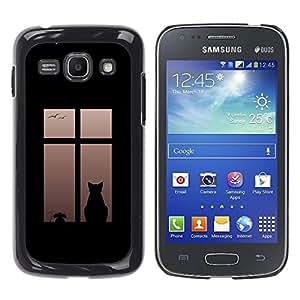YiPhone /// Prima de resorte delgada de la cubierta del caso de Shell Armor - Cat On Window - Samsung Galaxy Ace 3 GT-S7270 GT-S7275 GT-S7272