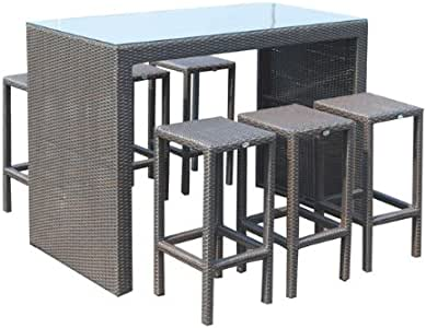 PAPILLON - Conjunto bar jardín ratán barra + 6 taburetes: Amazon ...