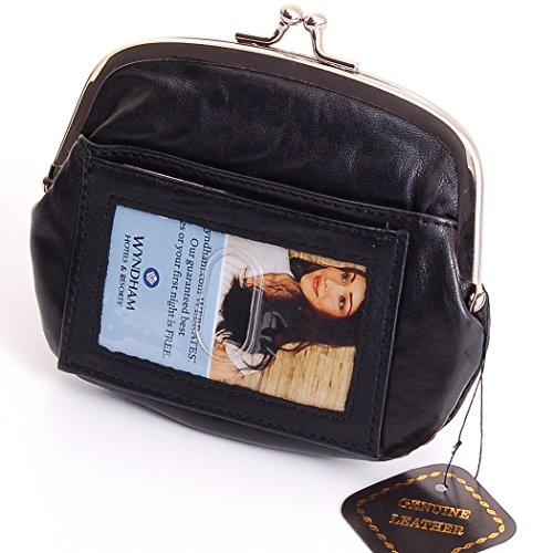 New Leather Womens Wallet Metal Frame Zippered Coin Purse ID WIndow Card Case Black (Snap Coin)