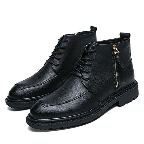 Mens Antique Leather Boots Knöchel Schuhe Lace-Up Shoes Schwarz