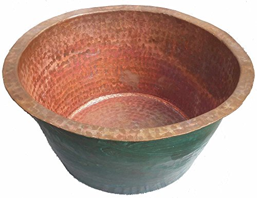 Urns Garden Planters Containers (Egypt gift shops Oxidized Victorian Architectural Large Handmade Natural Copper Cauldron Urn Planter Jardiniere Baby Bathtub Bath Tub Foot Water Massage Pedicure Spa Basin Outdoors Pool Log Bin)