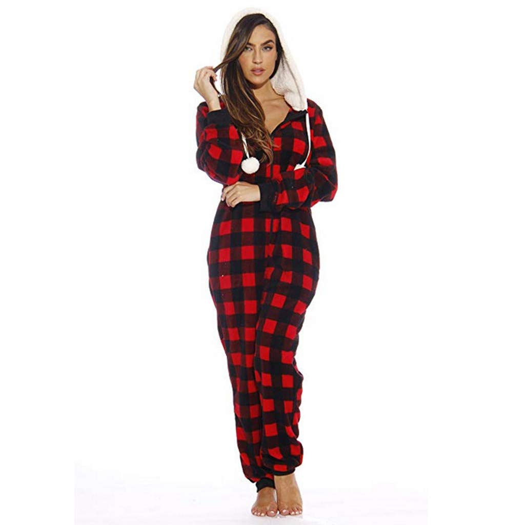 Womens Fleece Onesie Hooded Zip Up One Piece Pajamas Sleepwear Warm Long Sleeve Loose Plaid Tracksuit Holiday Homewear (Red, M) by Hotcl (Image #1)