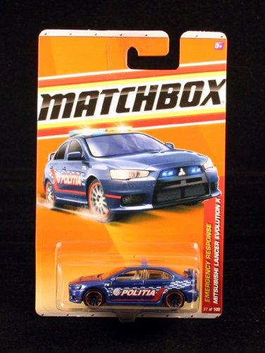 MITSUBISHI LANCER EVOLUTION X * BLUE * Emergency Response Series (#9 of 11) MATCHBOX 2011 Basic Die-Cast Vehicle (#57 of 100)