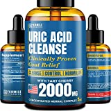 Uric Acid Cleanse with Tart Cherry 2000mg - Made in USA - Clinically Proven Natural Gоut Relief - Joint Comfort & Detoxification - Liquid Uric Acid Support Formula for High BioAvailability
