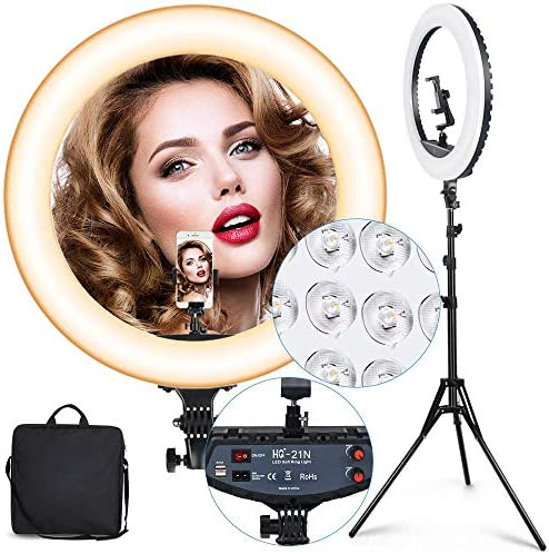 Ring Light Kit, 21 inch 72 W Dimmable LED Ring Light with Stand and Phone Holder- Adjustable 3200K-6000K Color Temperature Lighting for Vlog, Makeup, YouTube, Camera, Selfie, Video - Remote Control