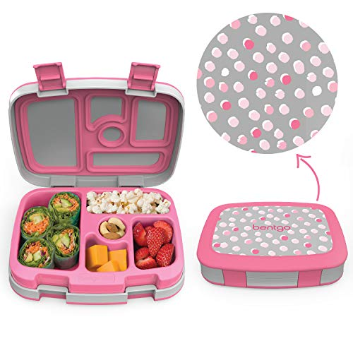 Pink Dot Print - Bentgo Kids Prints (Pink Dots) - Leak-Proof, 5-Compartment Bento-Style Kids Lunch Box - Ideal Portion Sizes for Ages 3 to 7 - BPA-Free and Food-Safe Materials